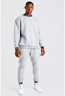 Grey marl grey Man Waistband Detail Sweater Tracksuit