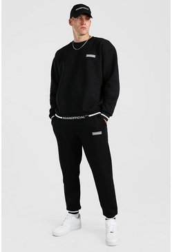Black Oversized Man Official Rib Detail Sweater Tracksuit