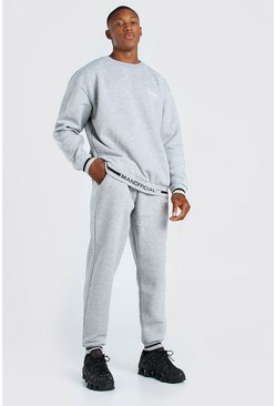 Grey marl grey Oversized Official Rib Detail Sweater Tracksuit