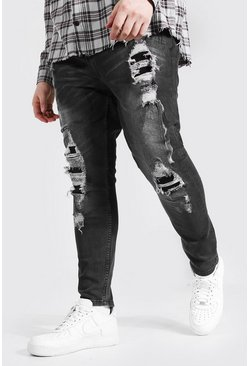 Jeans super skinny muy desgastados Big And Tall, Gris marengo gris