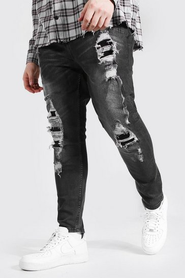 Charcoal grey Plus Size Super Skinny Distressed Jean