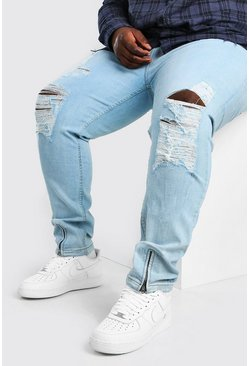 Jeans skinny con rasgaduras por todas partes Big And Tall, Azul hielo