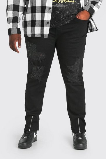 Black Plus Size Skinny Jean With All Over Rips