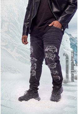 Washed black Plus Size Bandana Repair Skinny Jean