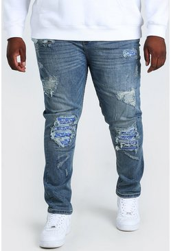 Jeans biker super skinny de bandana Big And Tall, Azul medio azul