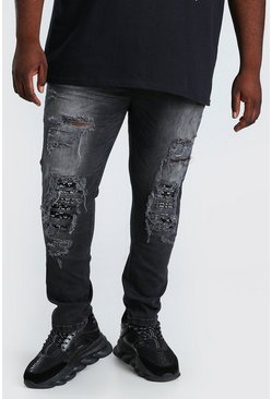 Jeans biker superskinny Big And Tall, Negro desteñido
