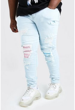 Ice blue Plus Size Super Skinny Biker Jean
