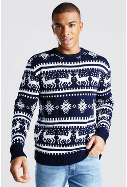 Navy Reindeer Fair Isle Christmas Jumper