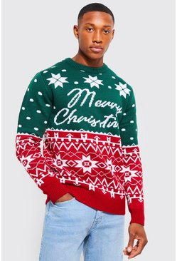Green Merry Christmas Fair Isle Jumper