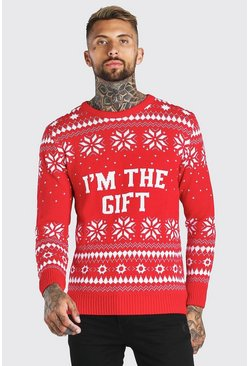 Red I'm The Gift Knitted Christmas Jumper