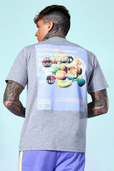 Grey marl grey Fruit Print Back Graphic T-shirt