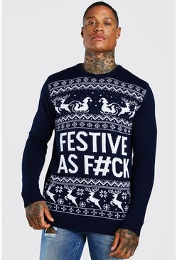Navy Festive Slogan Knitted Christmas Jumper