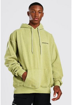 Mustard yellow Oversized Man Official Marl Overdye Hoodie