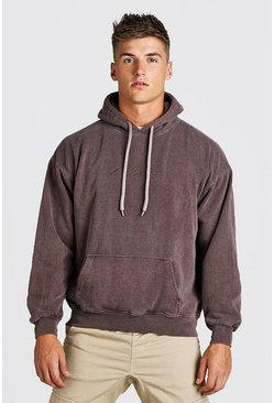 Brown Oversized Man Signature Marl Overdye Hoodie