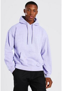 Lilac lila Oversized Man Official Marl Overdye Hoodie