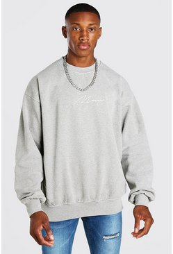 Sweat oversize chiné surteint MAN Signature, Écru blanc