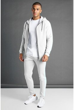 Grey grå MAN Muscle Fit Hooded Detail Tracksuit