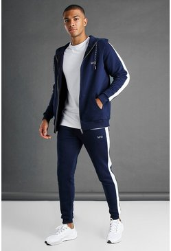 Navy MAN Muscle Fit Hooded Detail Tracksuit