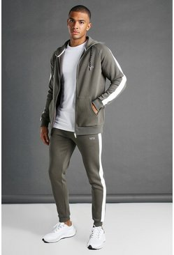 Khaki MAN Muscle Fit Hooded Detail Tracksuit