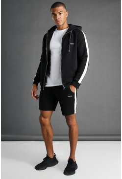 Black MAN Muscle Fit Hooded Detail Short Tracksuit