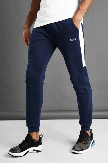Navy MAN Skinny Jersey Jogger With Side Panels