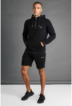 Black svart MAN Active Tapered 1/4 Zip Short Set