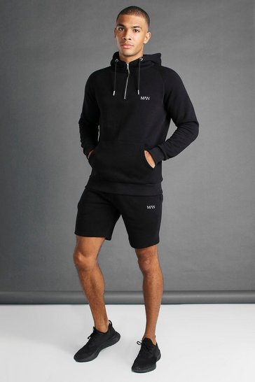 Black MAN Active Tapered 1/4 Zip Short Set