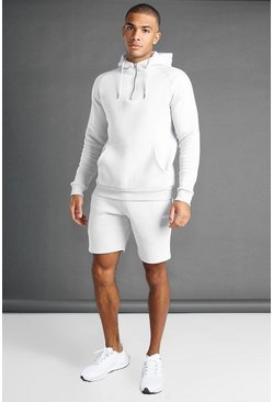 Grey grå MAN Active Tapered 1/4 Zip Short Set