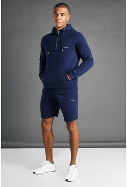 Navy marinblå MAN Active Tapered 1/4 Zip Short Set