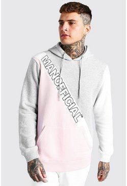 Grey marl grå Official MAN Colour Block Panel Hoodie