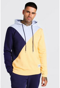 Grey marl grey Official MAN Back Print Colour Block Hoodie