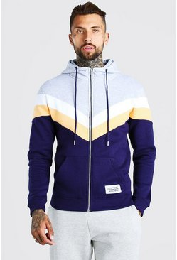 Grey marl grey Official MAN Colour Block Zip Through Hoodie