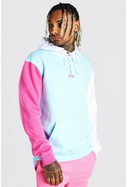 Light blue blue Official MAN Colour Block Hoodie