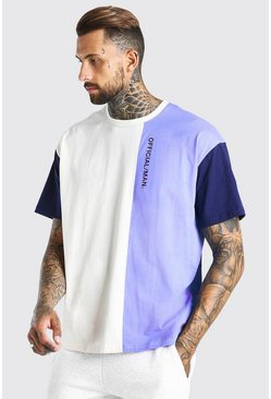 Ecru Official Man Oversized Printed Colour Block T-Shirt