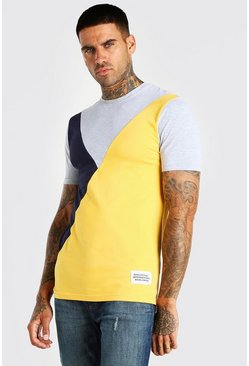 Grey marl grey Official MAN Muscle Fit Colour Block T-Shirt