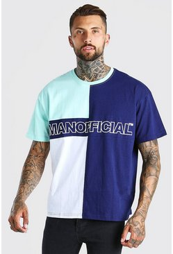 Green Official MAN Oversized Colour Block T-Shirt