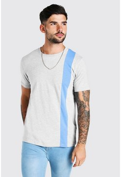 Grey marl Colour Block Panel T-Shirt