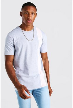 Grey marl grey Colour Block Panel T-Shirt