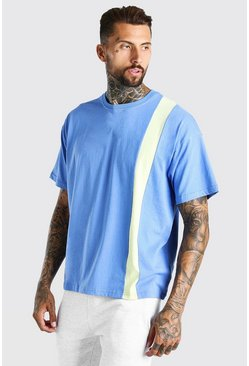 Navy Oversized Colour Block Panel T-Shirt