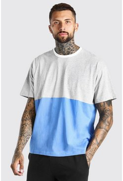 Grey marl grey Oversized Colour Block T-Shirt