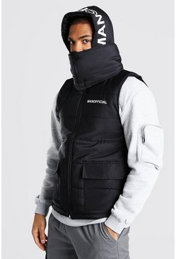 Black Extreme Snood Hood Gilet With Hood Print