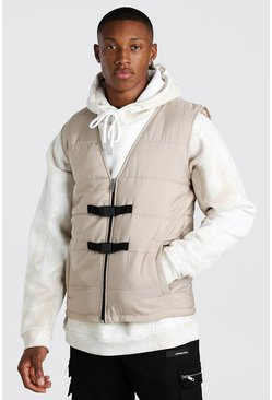 Stone beige Buckle detail man branded padded vest