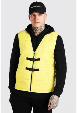 Yellow Buckle detail man branded padded vest