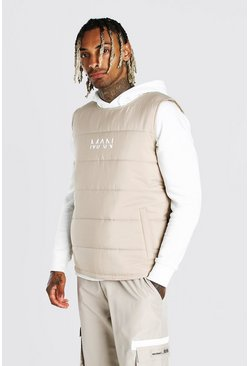 Stone beige Man dash padded side zip gilet with tape detail