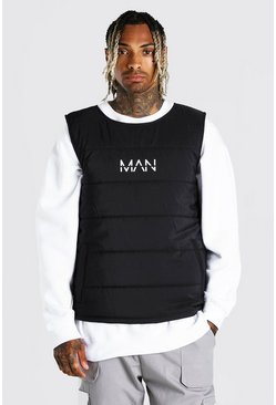 Black Man dash padded side zip gilet with tape detail