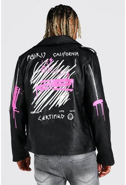 Black Graffiti Back Print Biker