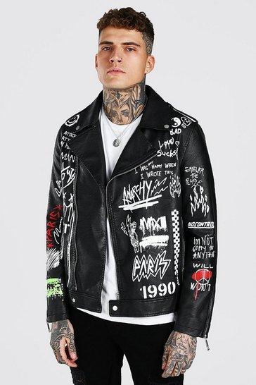 Black All Over Graffiti Biker Jacket