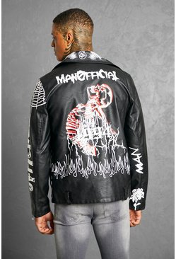 Black All Over Graffiti Biker Jacket