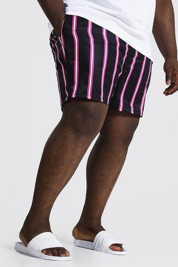 Black Plus Size Mid Length Stripe Print Swim Short