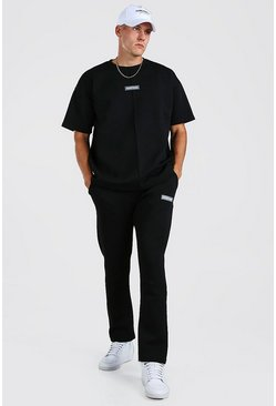 Black Oversized Scuba T-Shirt & Jogger with Man Tab